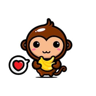 Scimmia carina che abbraccia una banana isolata su bianco