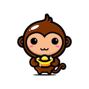 Scimmia carina che abbraccia oro per celebrare il capodanno cinese