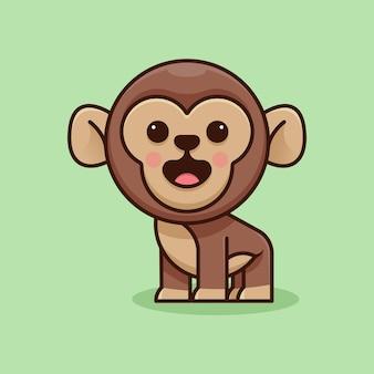 Simpatica scimmia per adesivo con logo icona e illustrazione