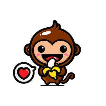 Scimmia carina sta mangiando banana piena di amore