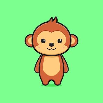 Simpatico personaggio mascotte scimmia icona del fumetto. design piatto isolato in stile cartone animato