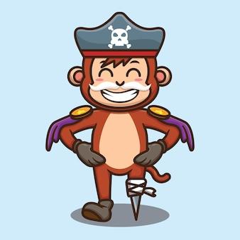 Simpatico cartone animato pirata scimmia in piedi disegno vettoriale