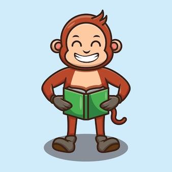 Disegno del libro di lettura della scimmia carino