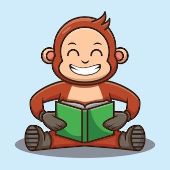 Scimmia carina che legge un libro mentre è seduta design illustrazione vettoriale personaggio cartoon