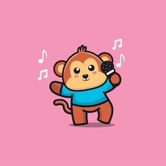 La scimmia sveglia canta un'illustrazione del personaggio dei cartoni animati di canzone
