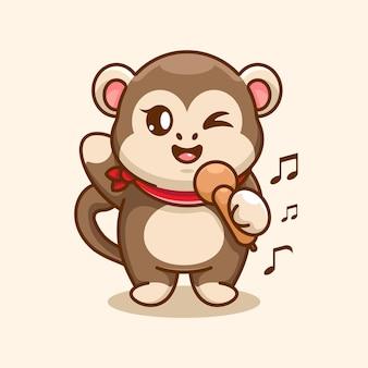 Simpatico disegno di cartone animato che canta una scimmia