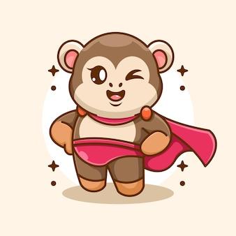 Cartone animato carino scimmia super eroe