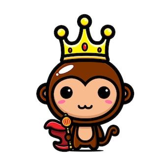 Scimmia carina che indossa la corona del re Vettore Premium