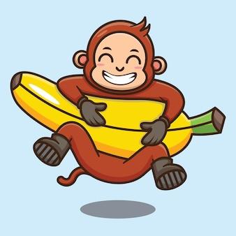 Scimmia carina con disegno vettoriale di cartone animato di banana