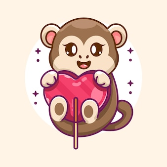 Simpatico cartone animato scimmia con cuore di caramelle