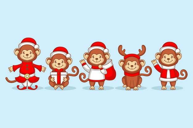 Scimmia carina con costume natalizio