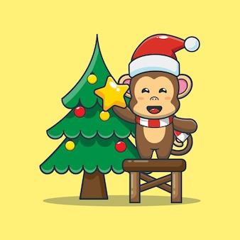 Scimmia carina con albero di natale illustrazione di cartone animato carino natale