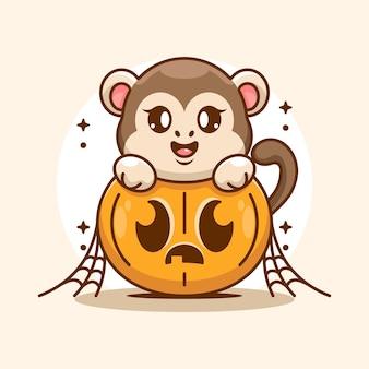 Simpatico cartone animato scimmia con zucca