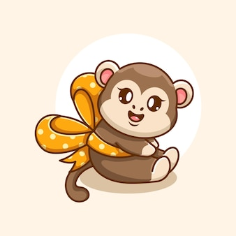 Simpatico cartone animato scimmia con nastro