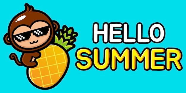 Scimmia carina con banner di saluto estivo