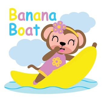 Cute girl monkey sulla banana boat vector cartoon