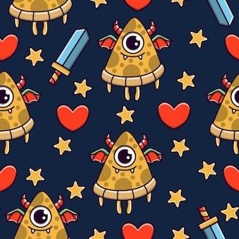 Carino mostro cartoon doodle seamless pattern design