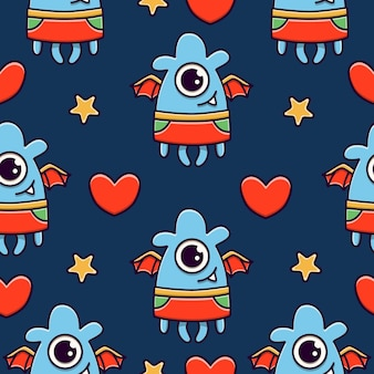 Carino mostro cartoon doodle seamless pattern design