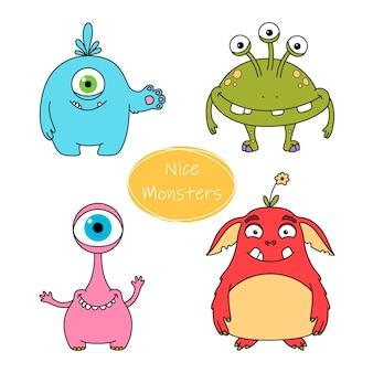 Collezione di simpatici personaggi mostri