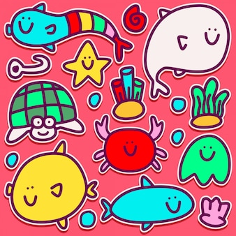 Disegno adesivo mostro carino doodle