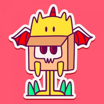 Adesivo doodle mostro carino Vettore Premium