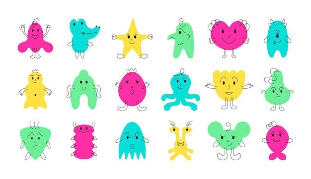 Simpatici volti di mostri mostri minimalisti di cartoni animati divertenti e spaventosi con emozioni facciali allegre