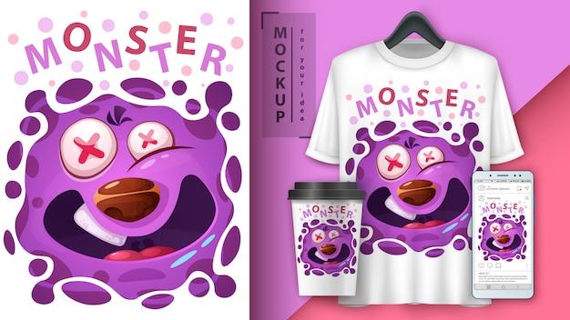 Illustrazione di mostro carino e merchandising