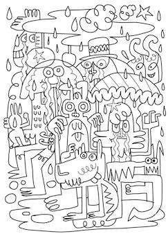 Simpatici mostri giocano sotto la pioggia per divertimento. illustrazione, simpatici scarabocchi disegnati a mano,