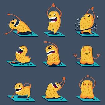 Mostri carini in diverse pose yoga. personaggi dei cartoni animati di vettore messi isolati