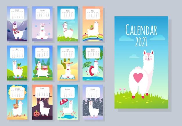 Simpatico calendario mensile con animali lama alpaca. personaggi disegnati a mano