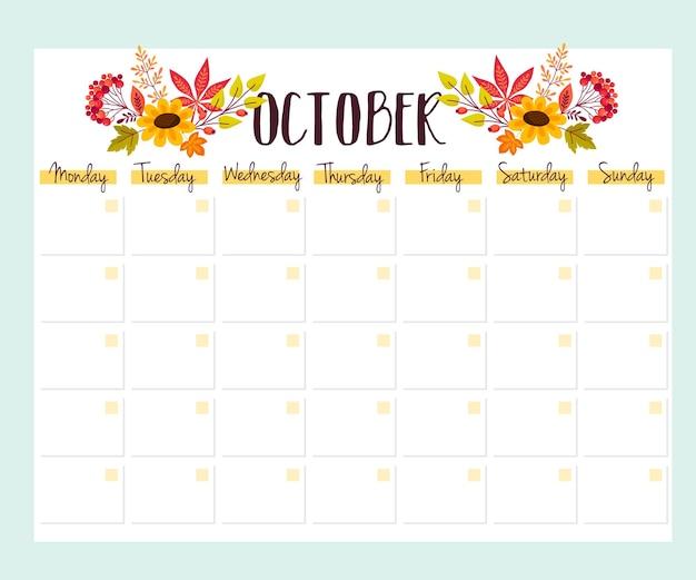 Simpatica agenda mensile con fiori, lista delle cose da fare, note, stampabile. disegno autunnale. vettore.