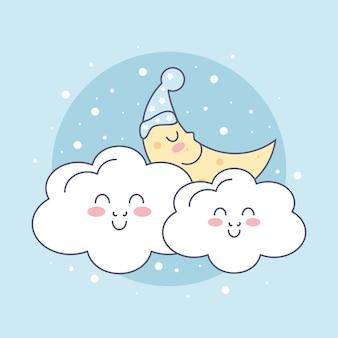 Luna e nuvole carine