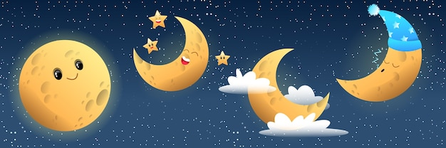 Collezione di luna carina