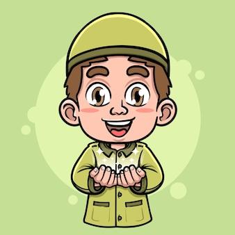 Simpatico personaggio di ragazzo musulmano che fa illustrazione di preghiera