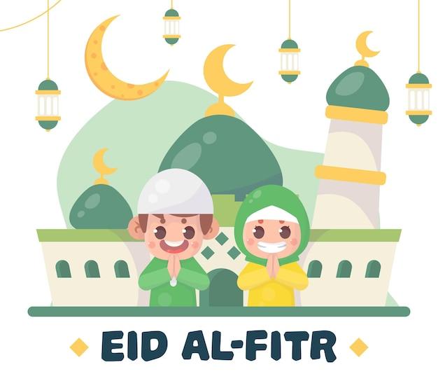 Ragazzo e ragazza musulmani carini che salutano il ramadan kareem eid al fitr islamico