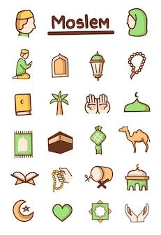 Simpatico componente di illustrazioni di cartoni animati musulmani