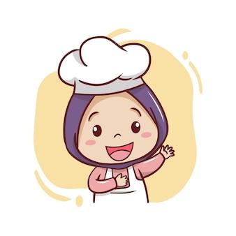L'illustrazione del cuoco unico femminile musulmano sveglio