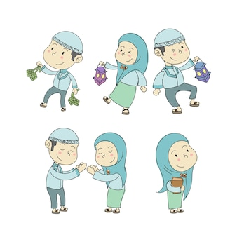 Simpatici personaggi per bambini musulmani nelle collezioni di cartoni animati di ramadan kareem