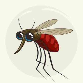 Simpatici animali moscerino del fumetto della zanzara