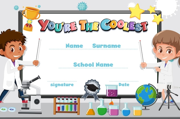 Certificato simpatico cartone animato motivazionale per bambini