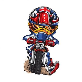 Simpatico cartone animato di motocross