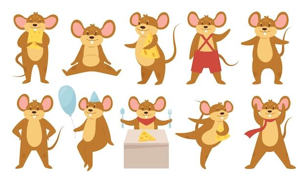 Simpatici animali del topo impostano un topo o un ratto divertente che mangiano formaggio al ballo della festa felice di compleanno