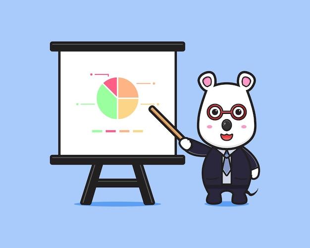 Presentazione sveglia dell'uomo d'affari del topo con l'illustrazione dell'icona del fumetto del bastone