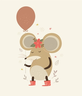 Illustrazione sveglia del mouse con l'aerostato Vettore Premium