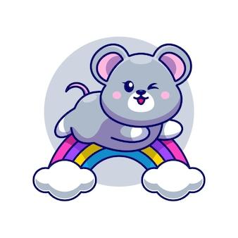 Mouse sveglio che salta con il fumetto dell'arcobaleno