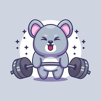 Simpatico cartone animato di sollevamento pesi del mouse