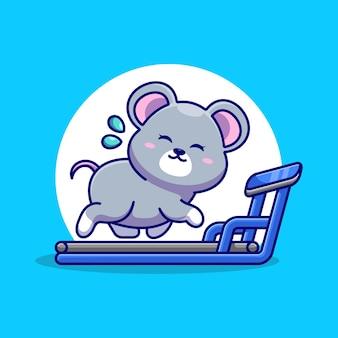 Mouse carino in esecuzione sul cartone animato tapis roulant