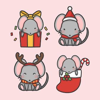 Vettore disegnato a mano sveglio del fumetto di natale stabilito del costume del topo