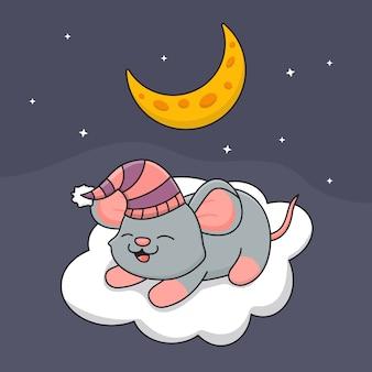 Mouse sveglio che dorme sulla nuvola sotto la luna