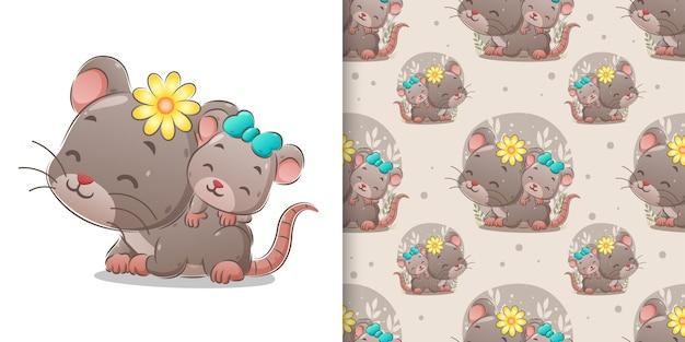 Il simpatico topo con il suo bambino sul suo bambino che si aggira sullo sfondo senza soluzione di continuità dell'illustrazione